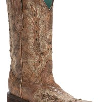 Corral Women's Vintage Cognac with Embroidery & Rhinestones Square Toe Western Boots