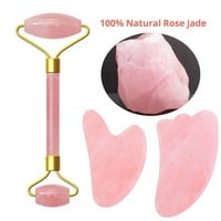 Pink Crystal Stone, Jade Roller Set , Face Lift Massage Roller, Facial Slimming Massager, Natural Quartz Stone Tool