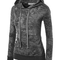 LL Womens Long Sleeve Burnout Thermal Pullover Hoodie