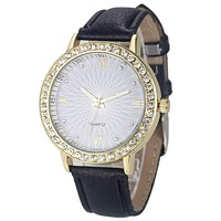 Women Diamond Analog Leather Strap Wrist Watch