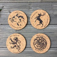 Game of Thrones House Sigils Cork Coaster Set of 4