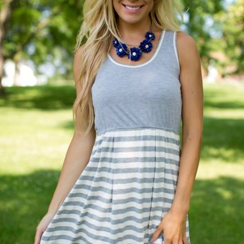 The Finer Things Striped Dress in Grey