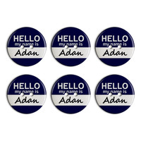 Adan Hello My Name Is Plastic Resin Button Set of 6