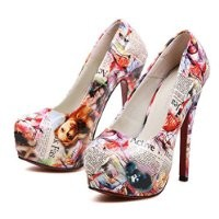 MagicPieces Women's Full Girls and Words Print High Heels 040751 ADP 0705 US 5