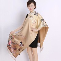 ONETOW New 2016 Spring women silk muffler women real silk scarf scarves shawl dual long scarves Chinese style Printed scarves