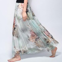 Summer  Vintage Bohemia Chiffon Floral Printed Women Boho Floor-Length Long Maxi Beach Party Loose Flare Skirt