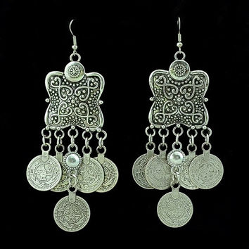 Bohemian Style Carving Flower Coin Statement Earrings Ethnic Gypsy Beach India African Jewelry (Color: Silver) = 1928840004