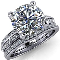 Priscilla Round Center Stone 4 Prong Double Channel Shank Engagement Ring