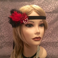 Red & Black 1920s style gatsby flapper headband sparkly 20s inspired sequin pearl headpiece head piece hair 1920's 20's art deco (687)