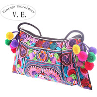 Vintage Embroidery Embroidery Floral Cotton Fabric Handbags Women 766