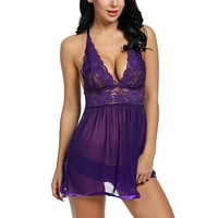 Lace Embroidery Babydoll Lingerie