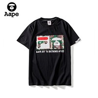 FILA x AAPE joint series 2019 early spring new loose street sports leisure round neck short-sleeved T-shirt Black