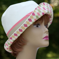 Summer Beach Hat in Neutral Cotton Colors | Cream with Coral/Tan Hatband Accent | Reversible Sun Hat with Fun Harlequin Print in Pinks Green