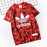 Adidas New fashion letter leaf print camouflage couple top t-shirt Red
