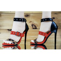 "CR Fused Shoe Triple Strap 4.5"" High Heels Sandal Red Black Leopard Shoe 6-11"