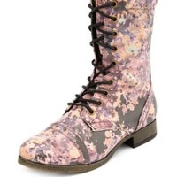 Floral Lace-Up Combat Boot by Charlotte Russe - Multi