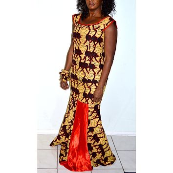 Reddy African Ankara Yellow And Red Two Piece Long Mermaid Dress