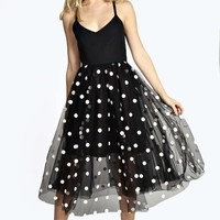 Boutique Leah Polka Dot Tulle Midi Dress