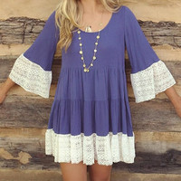 Ruffled Mini Dress with Lace Trim