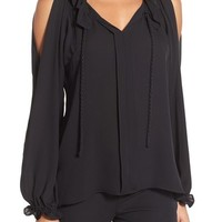 Kobi Halperin 'Gina' Cold Shoulder Ruffle Split Neck Blouse | Nordstrom