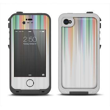 The Faded Pastel Color-Stripes Apple iPhone 4-4s LifeProof Fre Case Skin Set