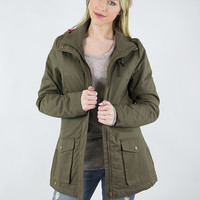 Plaid Accent Cinch Waist Quilted Lined Jacket
