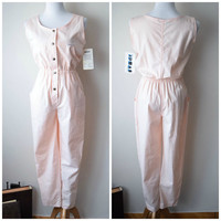 80s Pastel Pink Cotton Jumpsuit Romper by IDEAS // Sleeveless, Elastic Waist, Button Up, NEW W TAGS // Trendy Spring/Summer Style // Sz M
