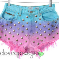 DIP DYED Ombre Tri Tone Denim Shorts High by KaleidoscopeEyesVtg