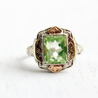 Vintage Art Deco 14k White, Yellow, & Rose Gold Green Spinel Ring - Antique 1930s Size 4 1/4 Simulated Peridot Stone Filigree Fine Jewelry