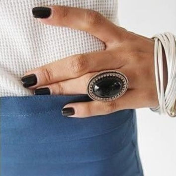 Retro Oval Gemstone Ring Red, Black, Orange Crystal Ring Gold Plated Ring Women Fashion Jewelry = 1946043012