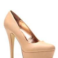 Anne Michelle Barely Nude Almond Toe Pumps