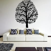 Vinyl Wall Decal Huge Beautiful Tree with Leaves & Branches / Nature Forest Trees Art DIY Decor Sticker Mural + Free Random Decal Gift!