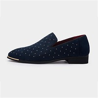 Men gold spike plus size black navy suede leather loafers