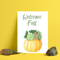 Welcome Fall sign - Autumn decor - Welcome Fall print - Fall wall decor - Fall decoration - Autumn decoration - Pumpkin print