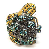 "B.B. Simon ""Golden Skull"" Swarovski Crystal Belt"