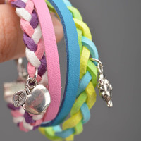Set of 2 handmade colorful genuine leather and suede wrist bracelet with charms