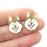 Adorable Husky Puppy Face Shaped Animal Stud Earrings in Gold | Limited Edition Jewelry