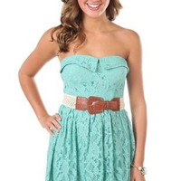 strapless crochet belted all over lace dress - debshops.com
