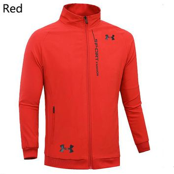 Under Armour 2019 new men's breathable and comfortable sports and fitness windproof jacket red