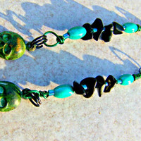 Patina Skull Earrings with Black Onyx woman Dangle Direct checkout