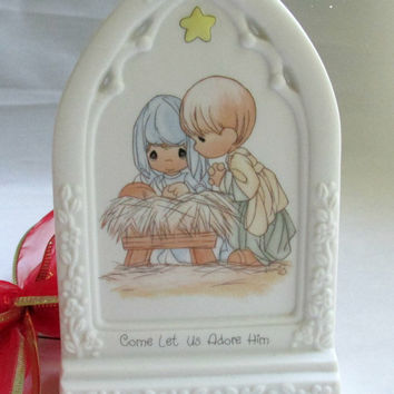 Precious Moments Bisque Christmas 1994 Collectible Christian Nativity Scene Come Let Us Adore Him