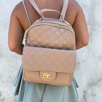 Hailey Vegan Leather Backpack in Natural
