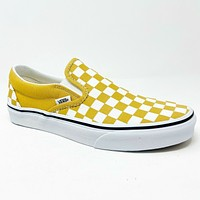 Vans Classic Slip On (Checkerboard) Ochre True White Mens Casual Shoes