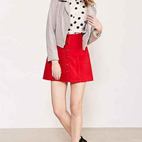 Cooperative A-Line Corduroy Skirt- Red