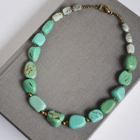 Short Statement Necklace. Turquoise Nugget Stone Necklace. Jasper and Turquoise Mix Stone Necklace.Turquoise Jewelry