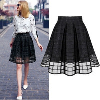 WAQIA new fashion women Skirt  Chiffon summer high pockets hip skirt gauze skirts