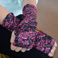 Red and pink flower lace over black jersey glamour by KayBellaChic