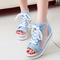 Summer new fashion Women shoes mesh shoes fish head platform shoes rhinestone sandals