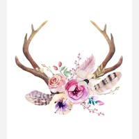 Boho Antlers Tribal Watercolor Nursery Wall Art Print - Multiple Sizes