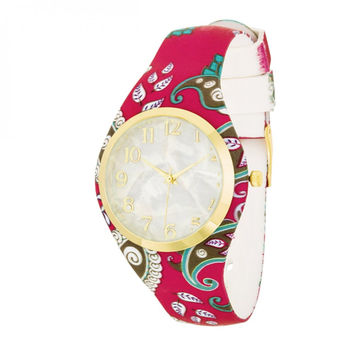 Fashion Watch With Pearl Dial And Red Rubber Strap